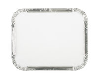 Blank Foil Food Container. Foil Food Container Tray with Blank White Lid Royalty Free Stock Images