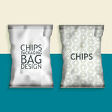 Blank Foil Food Snack. White Blank Foil Food Snack pack For Chips, Spices, Coffee, Salt, and other products. Plastic Pack Template for your design and branding Stock Images