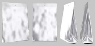 Blank foil pouch gusseted plastic bag Stock Photo