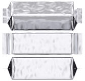 Blank foil pouch silver gusseted plastic bag Stock Photo