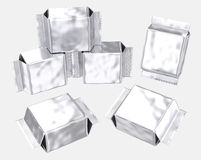 Blank foil pouch silver gusseted plastic bag Stock Image