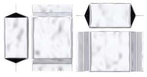 Blank foil pouch silver gusseted plastic bag Stock Images
