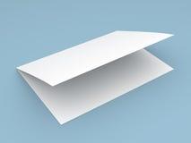 Blank folded flyer, booklet, postcard, business card or brochure. Mockup template on blue background stock illustration
