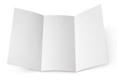 Blank folded flyer on white Royalty Free Stock Image