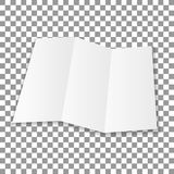 Blank folded leaflet white paper. Sheet with soft shadows , isolated on transparent background. Vector vector illustration
