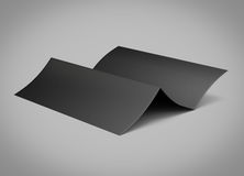 Blank folded sheet of paper. 3d illustration on gray background Royalty Free Stock Image