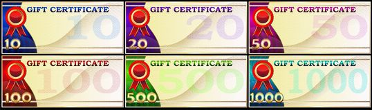 A set of gift certificates. Stock Photography