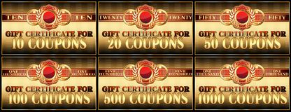 A set of gift certificates. Stock Images