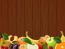 Blank form for your business, a lot of juicy tasty fruits on wooden background. A place for messages. Vector illustration Royalty Free Stock Image