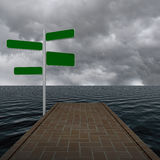 Blank four way guide pointer sign on the water Stock Photos