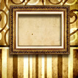 Blank frame. Antique blank frame over old wallpaper Royalty Free Stock Photos
