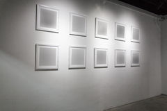 Blank frame in art gallery Stock Images