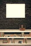 Blank frame on black brick wall. Blank picture frame hanging on a black brick wall above wooden bookshelf with vase. Mock up, 3D Render Stock Image