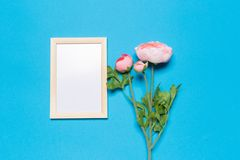 Blank frame on a blue background royalty free stock image
