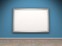 Blank frame on blue wall in the room. 3d Royalty Free Stock Photos