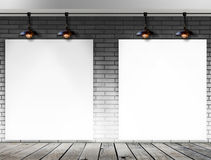 Blank frame on brick wall for information message Royalty Free Stock Images