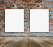 Blank frame on brick wall and wood floor. For information message Royalty Free Stock Image