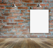 Blank frame on brick wall and wood floor. For information message Royalty Free Stock Photos