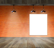 Blank frame on brick wall and wood floor. For information message Stock Image