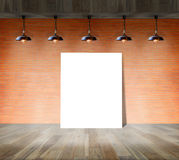 Blank frame on brick wall and wood floor. For information message Royalty Free Stock Images