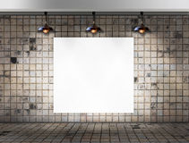 Blank frame with Ceiling lamp in Dirty tile room Royalty Free Stock Images