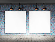 Blank frame with Ceiling lamp in Dirty tile room Stock Photography
