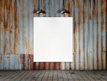 Blank frame with Ceiling lamp in Dirty tile room Stock Image