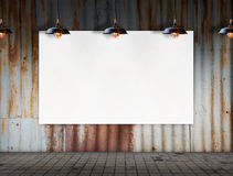 Blank frame with Ceiling lamp in Dirty tile room Royalty Free Stock Photography