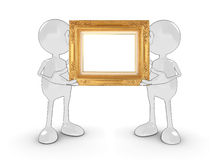 Blank frame characters. Two 3d characters holding a blank gold frame for your own design or text. Please see my portfolio for more in the series Royalty Free Stock Image