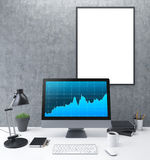 Blank frame and chart front Stock Image