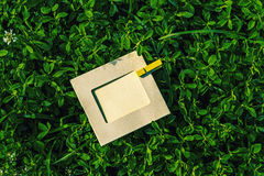Blank frame with clothespin in the grass outdoors Stock Photo
