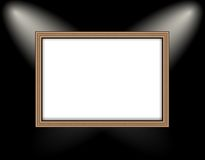 Blank frame on a colored wall lighting spotlights Stock Photography