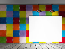 Blank frame on Colorful Paper egg tray wall and wood floor for information message Royalty Free Stock Photography