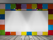 Blank frame on Colorful Paper egg tray wall and wood floor for information message Stock Photos