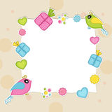 Blank frame with cute bird for Valentines Day. Happy Valentines Day celebration concept with blank frame decorated by colorful gifts, hearts and cute bird in Stock Photos