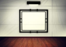 Blank frame in gallery. 3d render Stock Photo