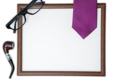 Blank frame with gifts for father Royalty Free Stock Photography
