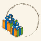 Blank frame with gifts for Indian Republic Day celebration. Royalty Free Stock Image