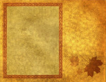 Blank frame on gold paper. A blank frame on textured gold paper with an autumn leaf, suitable for a card or poster royalty free illustration