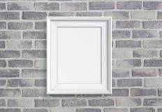 Blank frame on grey birck wall Stock Photography