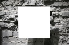 Blank frame on grey brick wall Stock Photos