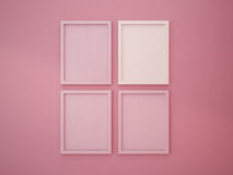 Blank frame on interior wall pink tone color Royalty Free Stock Image