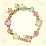 Blank frame with love bird for Valentines Day. Colorful cute love birds, flowers and hearts decorated blank frame for Happy Valentines Day celebration Royalty Free Stock Image