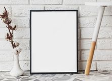 Blank frame mock-up in modern interior. Close-up Stock Image