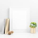 Blank Frame Mockup on desk. Blank white frame Mockup on desk Stock Photos