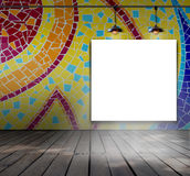 Blank frame on mosaic tile wall with Ceiling lam Royalty Free Stock Image