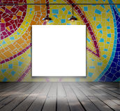 Blank frame on mosaic tile wall with Ceiling lam Royalty Free Stock Photography