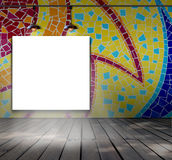 Blank frame on mosaic tile wall with Ceiling lam Royalty Free Stock Photos