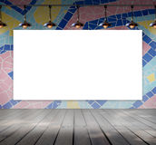 Blank frame on mosaic tile wall with Ceiling lam Stock Photos