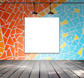 Blank frame on mosaic tile wall with Ceiling lamp Stock Photos
